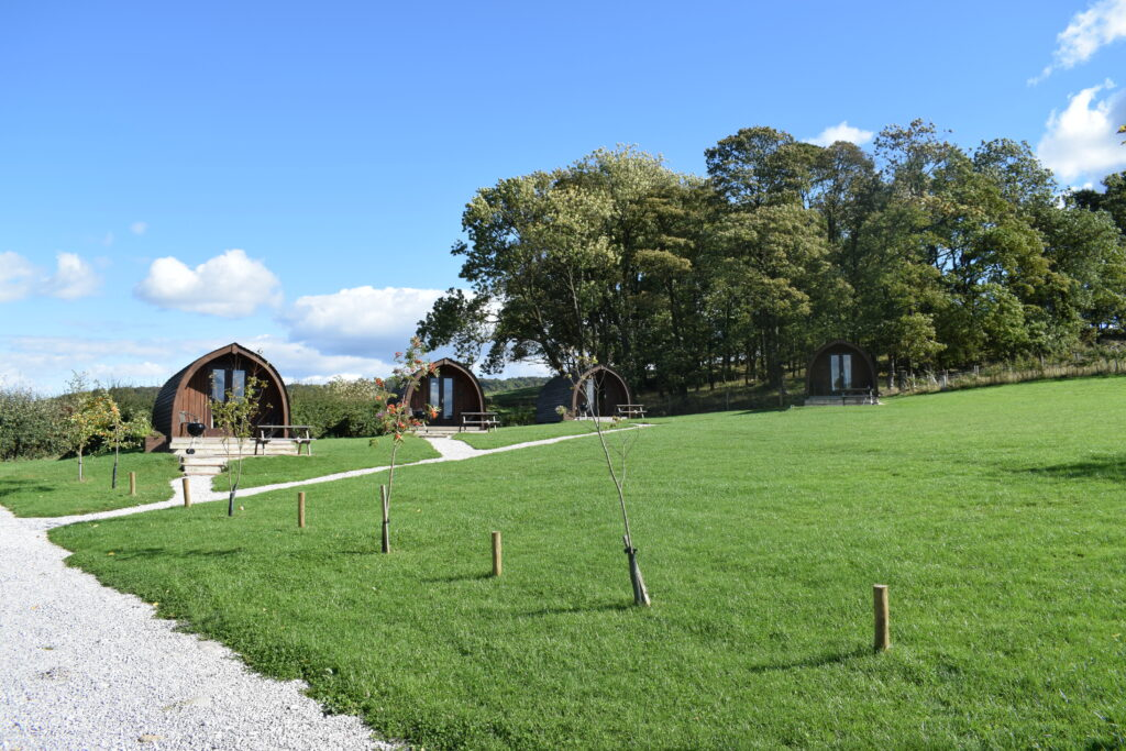 Peak district glamping - pods in field