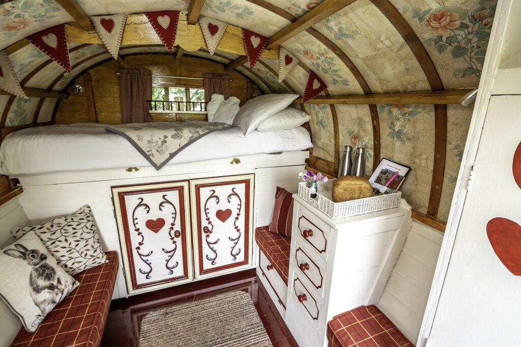 Peak district glamping - gypsy caravan inside