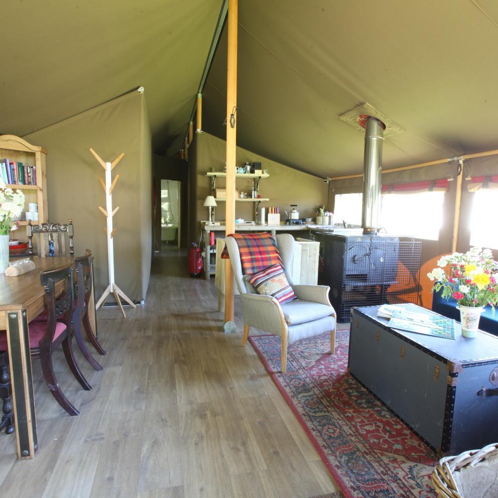 Peak district glamping - inside safari tent