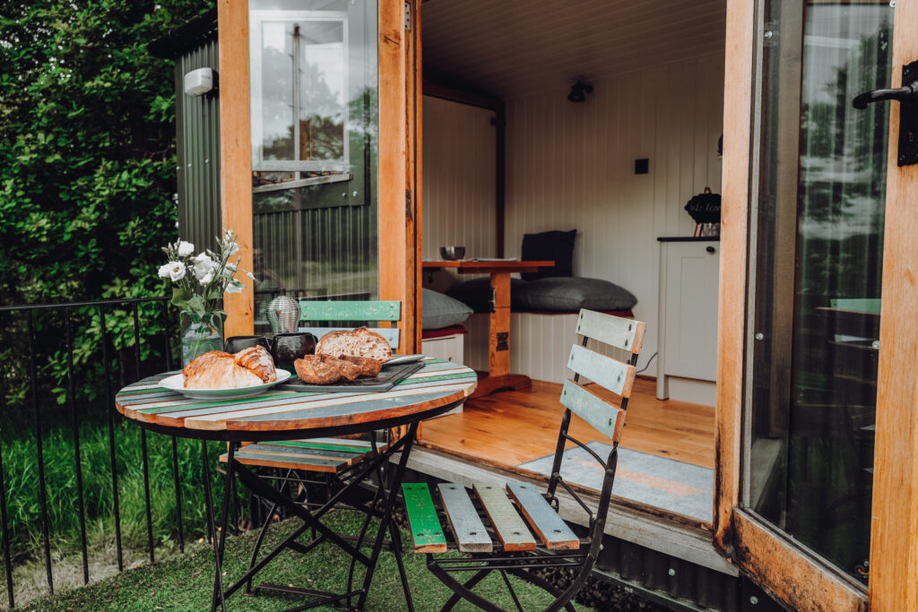 Peak district glamping - pod dining outside