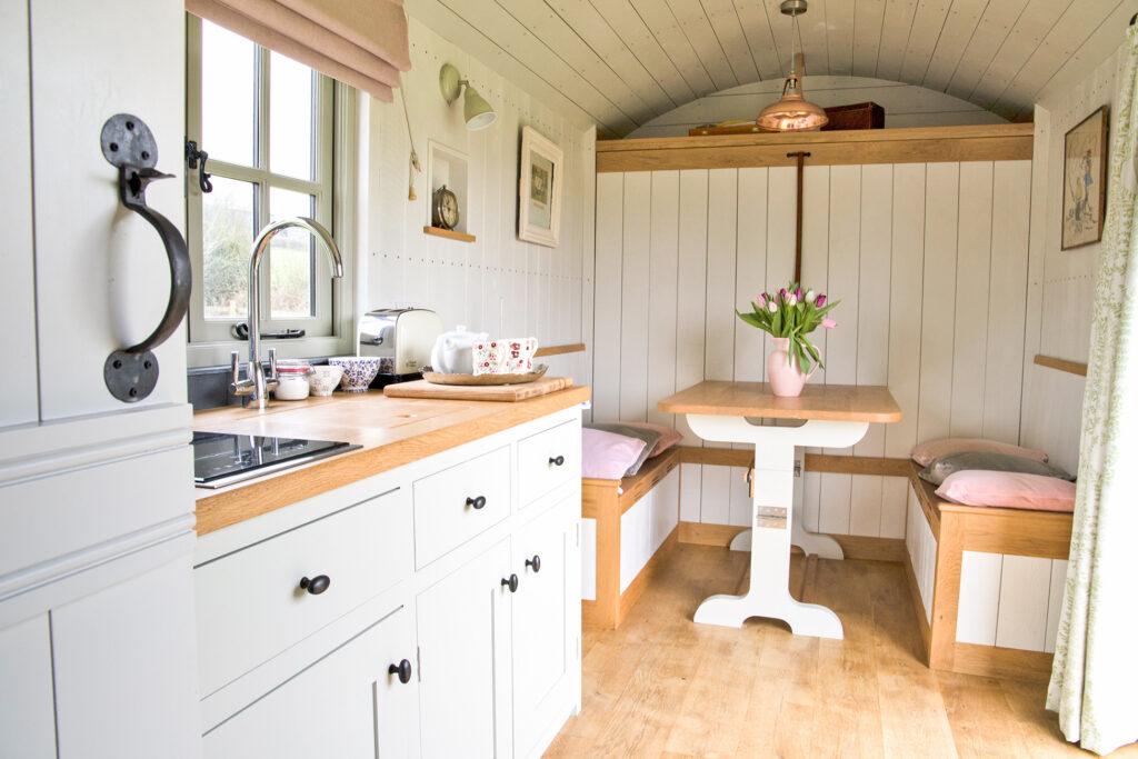 Peak district glamping - shepherds hut inside