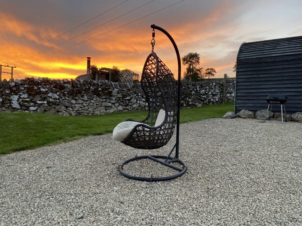 Peak district glamping - hanging chair