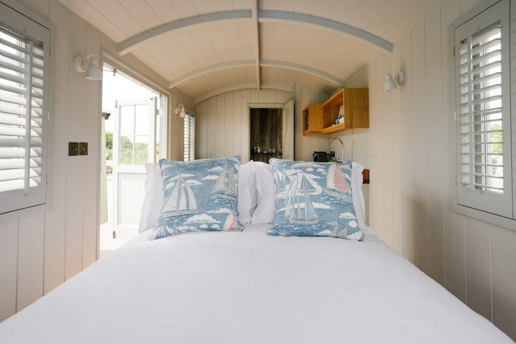 Shepherds Huts Cornwall - Rick Stein's huts in St Merryn - double bed