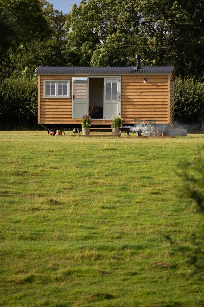 ewe-glamping-northamptonshire - outside of shepherd's hut