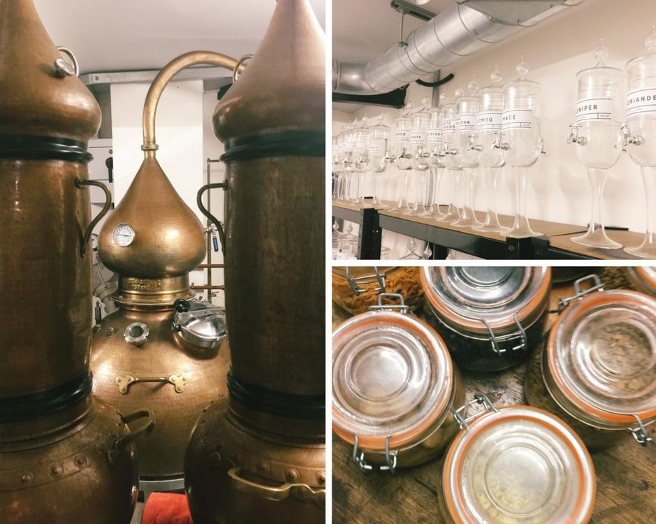 The Distillery Gin Hotel Portobello Road London - stills and gin making