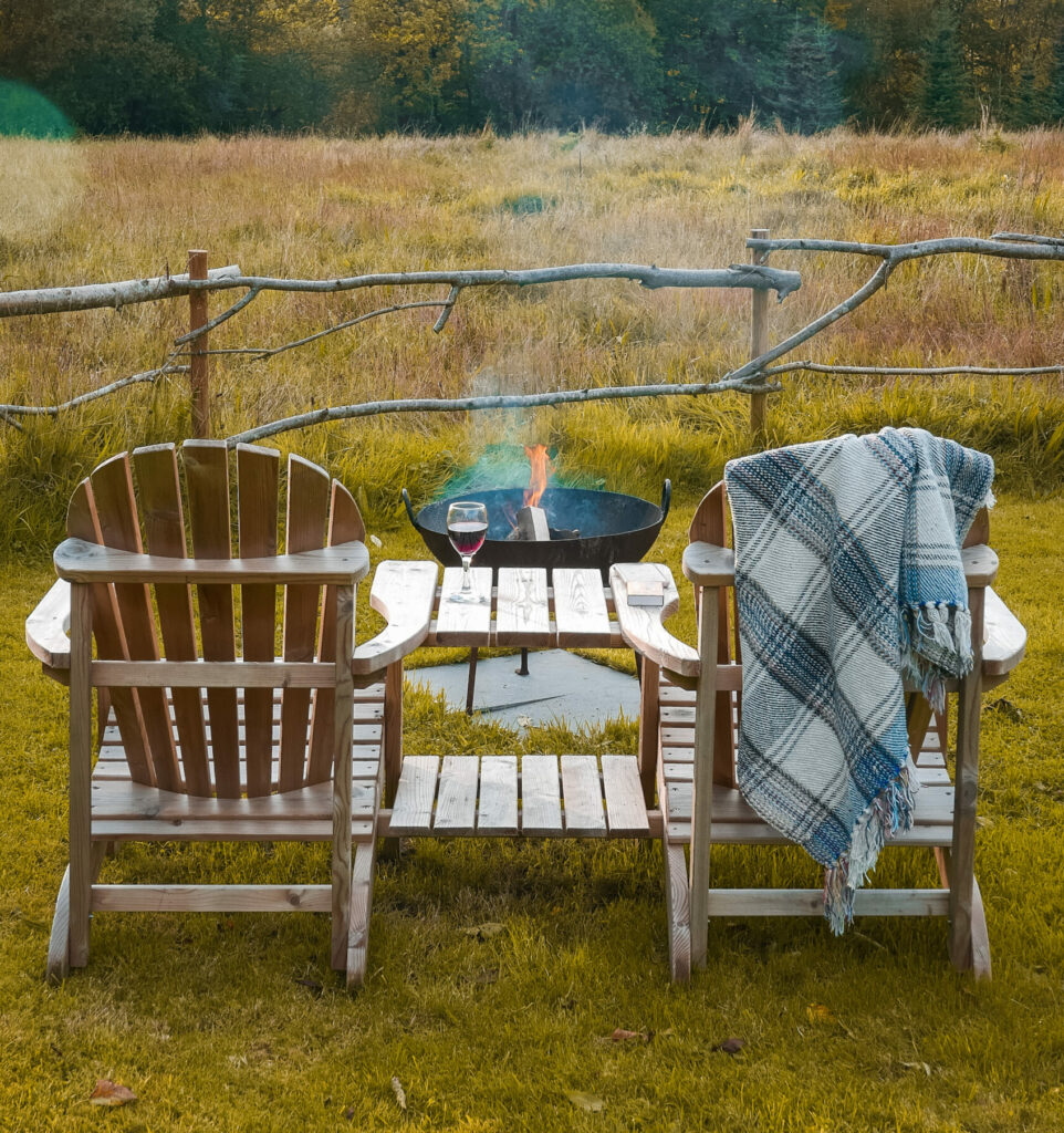 royal oak stargazing cabins devon outdoor chairs and fire